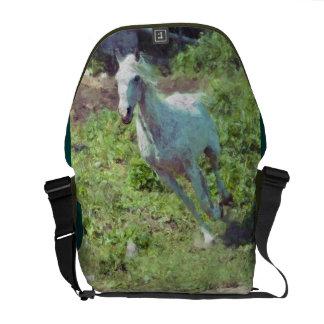 Cantering White Mare Horse-lover Messenger Bag