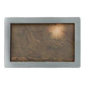 Cantering Wild Spirited Horse Faux Leather-effect Belt Buckle