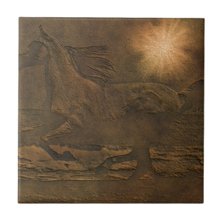 Cantering Wild Spirited Horse Faux Leather-effect Ceramic Tile