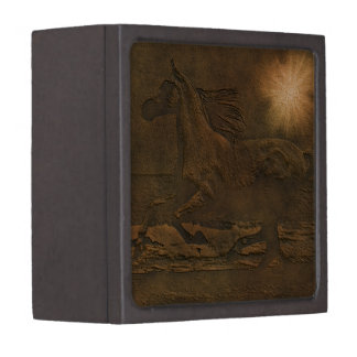Cantering Wild Spirited Horse Faux Leather-effect Keepsake Box