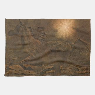 Cantering Wild Spirited Horse Faux Leather-effect Kitchen Towel