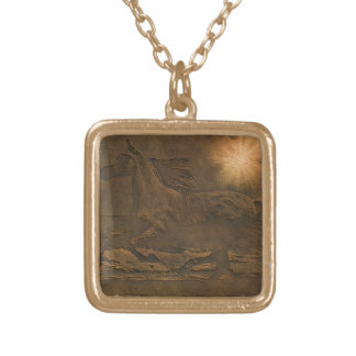 Cantering Wild Spirited Horse Faux Leather-effect Square Pendant Necklace