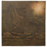 Cantering Wild Spirited Horse Faux Leather-effect Printed Napkin