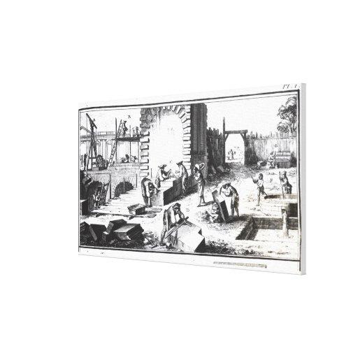 Canteros en el trabajo, grabado por Lucotte Impresión En Lienzo