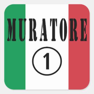 Canteros italianos: Uno de Muratore Numero Pegatina Cuadrada