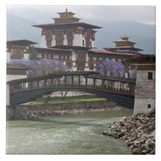 Cantilevered bridge near Punakha Dzong palace Ceramic Tile