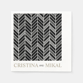 Cantilevered Chevron Cocktail Party | black Paper Napkin
