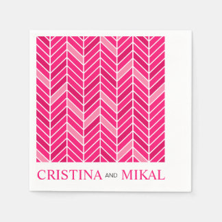 Cantilevered Chevron Cocktail Party | fuschia Paper Napkin