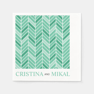Cantilevered Chevron Cocktail Party | mint green Disposable Napkins