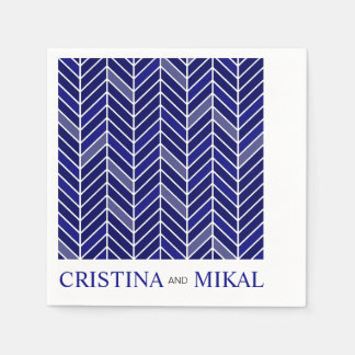 Cantilevered Chevron Cocktail Party | navy blue Disposable Napkin
