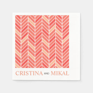 Cantilevered Chevron Cocktail Party | peach Disposable Napkin
