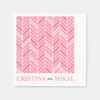 Cantilevered Chevron Cocktail Party | pink Paper Napkin