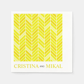 Cantilevered Chevron Cocktail Party | yellow Paper Napkin