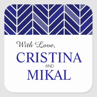 Cantilevered Chevron Favor | navy blue Square Sticker