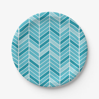 Cantilevered Chevron Geometric | teal aqua 7 Inch Paper Plate