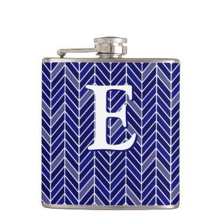 Cantilevered Chevron Monogram navy blue Flask