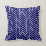 Cantilevered Chevron narrow | navy blue Throw Pillows