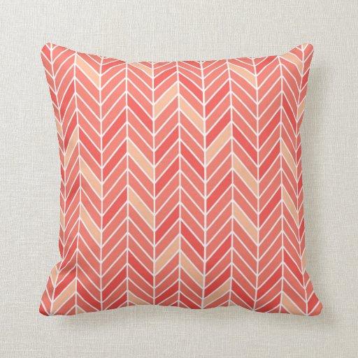Cantilevered Chevron narrow   peach Throw Pillow
