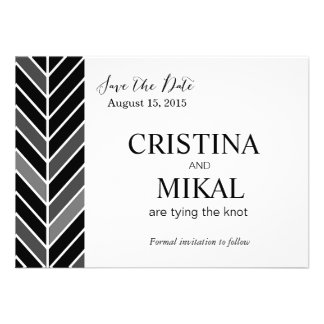 Cantilevered Chevron Save the Date black Personalized Announcements