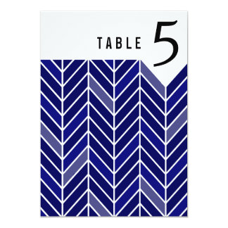 Cantilevered Chevron Table Numbers | navy blue Card