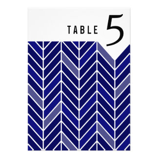 Cantilevered Chevron Table Numbers navy blue Announcements
