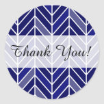 Cantilevered Chevron Thank You | navy blue Classic Round Sticker