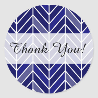 Cantilevered Chevron Thank You navy blue Round Stickers