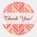Cantilevered Chevron Thank You | peach Round Sticker
