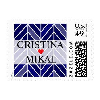 Cantilevered Chevron Wedding   navy Postage Stamp
