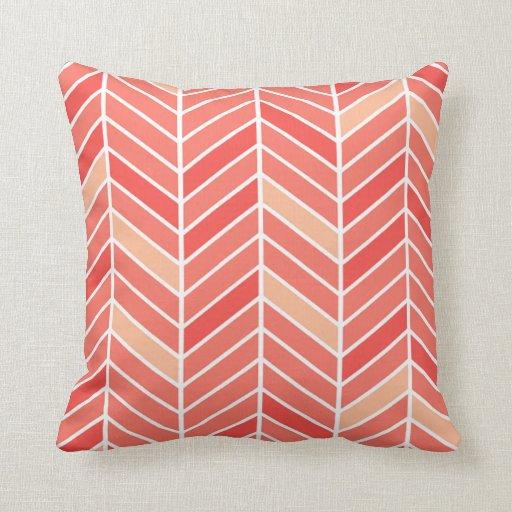 Cantilevered Chevron wide   peach Pillow