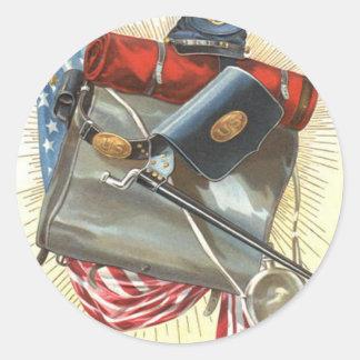Cantina de la bayoneta de la bandera de los pegatina redonda