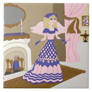 Canto azul y rosado del ángel del Victorian por la Tejas Ceramicas