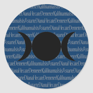 Canto de la diosa (azul) pegatina redonda