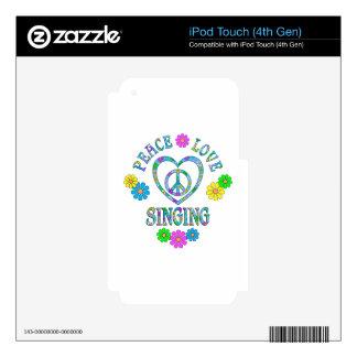 Canto del amor de la paz iPod touch 4G calcomanía