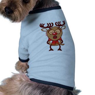 Canto dulce del reno del navidad camisas de mascota