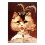 Canto en blanco del gato de la sala del vintage de comunicado