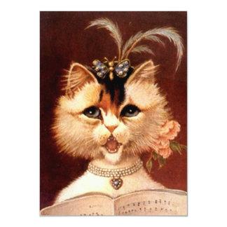 Canto en blanco del gato de la sala del vintage de invitación 11,4 x 15,8 cm