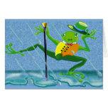 canto en la rana de la lluvia tarjeton