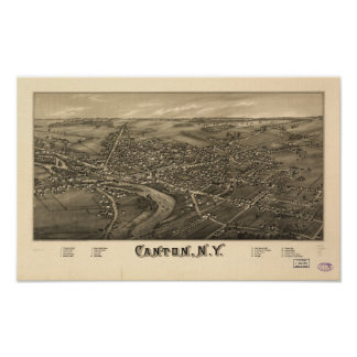Canton New York 1885 Antique Panoramic Map Posters