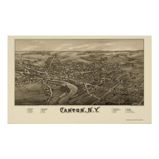 Canton, NY Panoramic Map - 1885 Poster