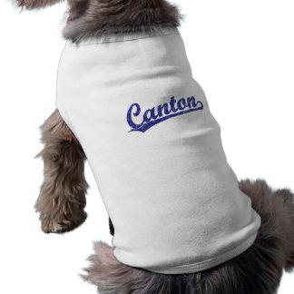 Canton script logo in blue shirt