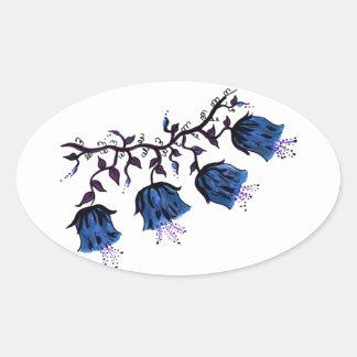 Cantorbery Belces azul en las flores de la vid Pegatina Ovalada