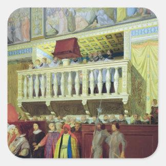 Cantoria en la capilla de Sistine Pegatina Cuadrada