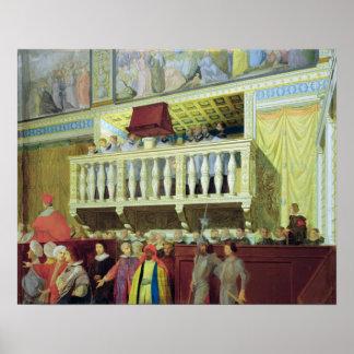 Cantoria en la capilla de Sistine Póster