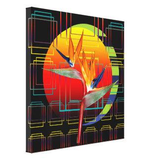 Canvas 12 x12  Bird of Paradise Geometric Sunset Canvas Print