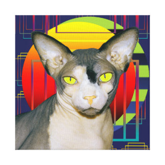 Canvas 12x12 Sphynx Cat on Blue Shapes