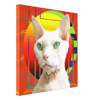Canvas 12x12 White Cat on red-orange Canvas Print