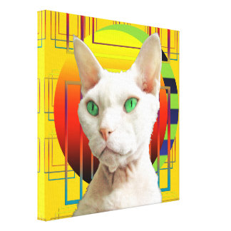 Canvas 12x12 White Cat on yellow Canvas Print