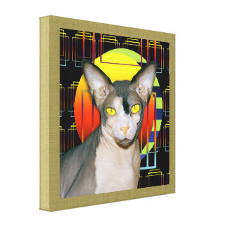 Canvas 16x16 Sphynx Cat on Black Shapes