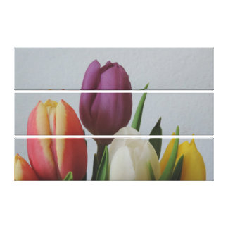 Canvas 3 stacked vert. Large Colorful Tulips